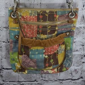 Fossil floral patchwork canvas leather crossbody